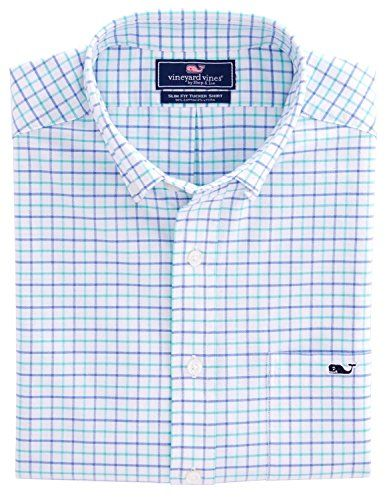 Vineyard Vines Men's Slim Fit Whale Shirt - Tattersall Plaid (XXL, Capri Blue)