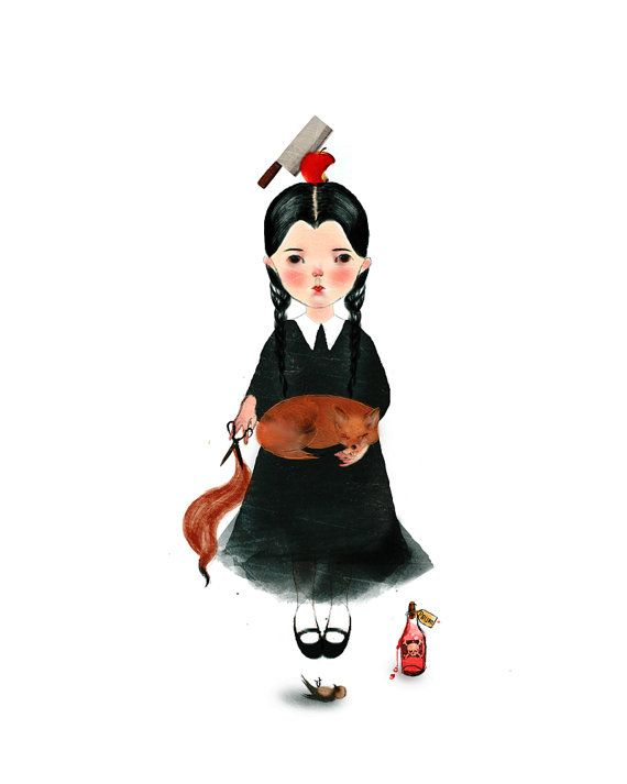 Wednesday Illustration, Wednesday Art Print, The Addams Family Homage, Wednesday Fan Art, Movie poster Decor,  Christina Ricci