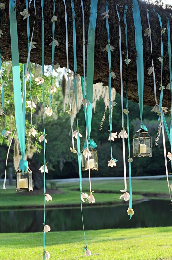 pretty ribbons, flowers and lanterns