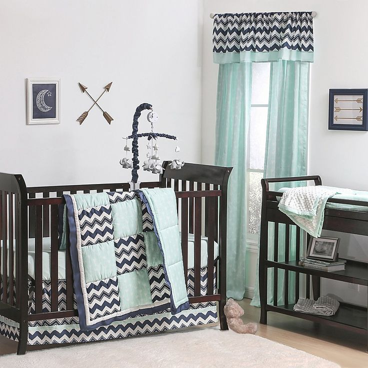 The Peanut Shell® Chevron Patchwork Crib Bedding Collection in Mint/Navy