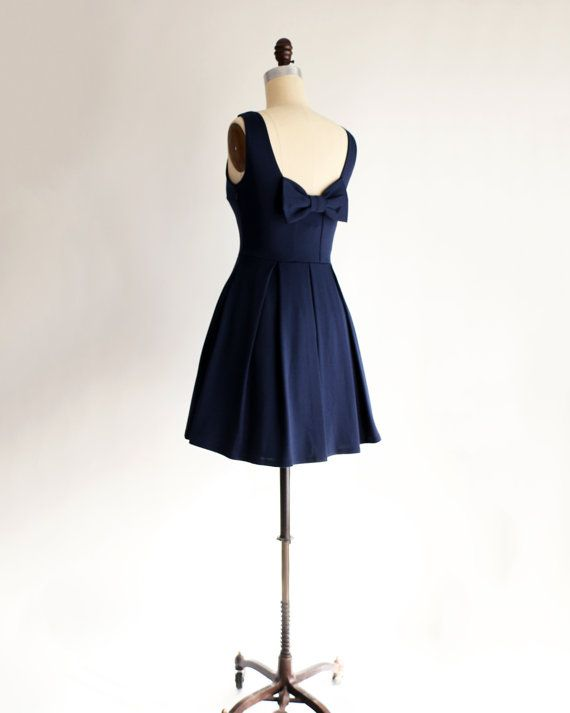 Awesome JANUARY Navy blue bridesmaid dress with bow by ShopApricity Wedding WearBlue