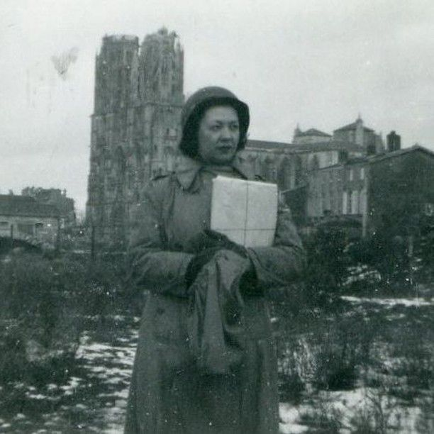 """An image scanned from a black and white photograph with a handwritten caption on the back """"Bea Arnold in France 1944."""" Arnold trained at the Eastern Maine General Hospital School of Nursing in Bangor Maine."""
