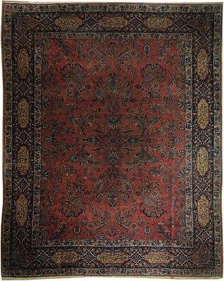 SIGNED POEMS AROUND Antique 9x11 Persian Rug 1900's