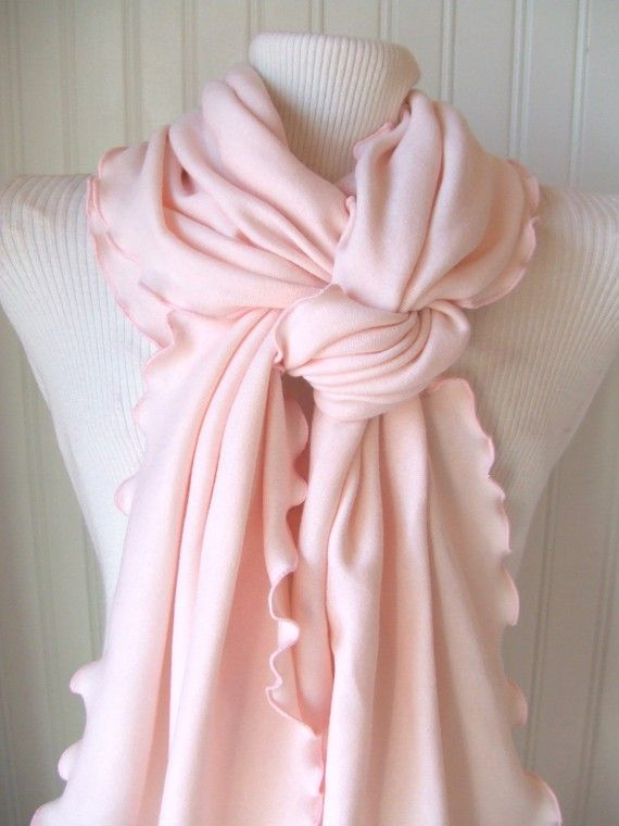 Pale Pink Jersey Ruffled Scarf by JANNYSGIRL on Etsy, $18.00  Gonna buy this