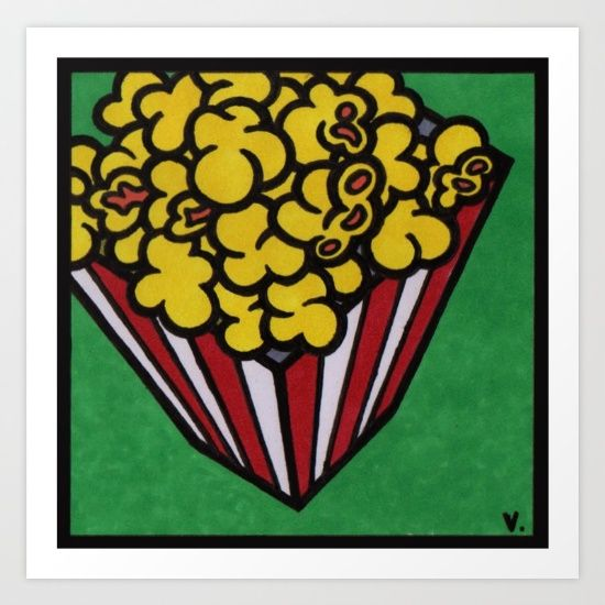 by Vernon Fourie | popcorn, illo, illustration, pen and ink, popart, pop art, food, snacks