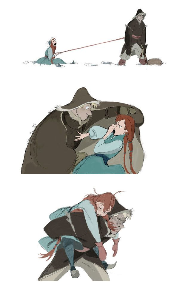 "Concept art for Disney's ""Frozen"" by Minkyu Lee. -- I totally thought Kristoff was Shan Yu for a minute there...-->Haha!"