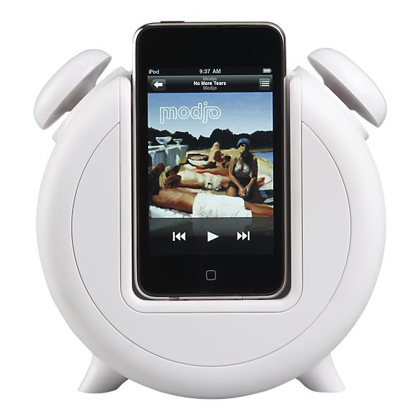A retro double-belled design marks this thoroughly modern combination alarm clock/iPod charger that wakes you to your favorite tunes.