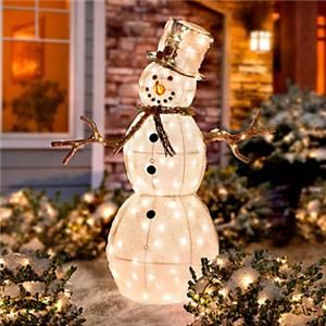 Outdoor Lighted Christmas Snowman Holiday Yard Art Display Decoration ...