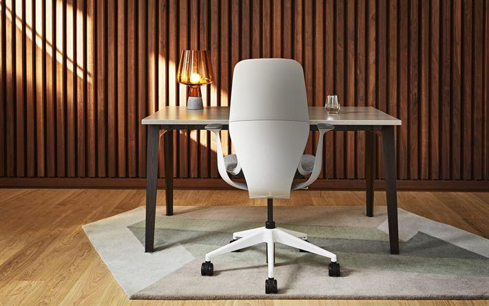 Download wallpapers cabinet, 4k, stylish interior, office interior, white armchair, wooden wall, modern design, interior idea
