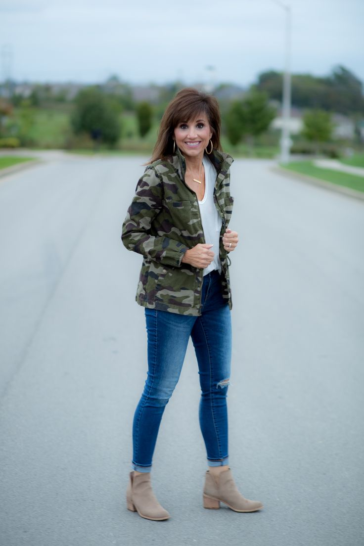 Camo Jacket + Distressed Jeans + Booties