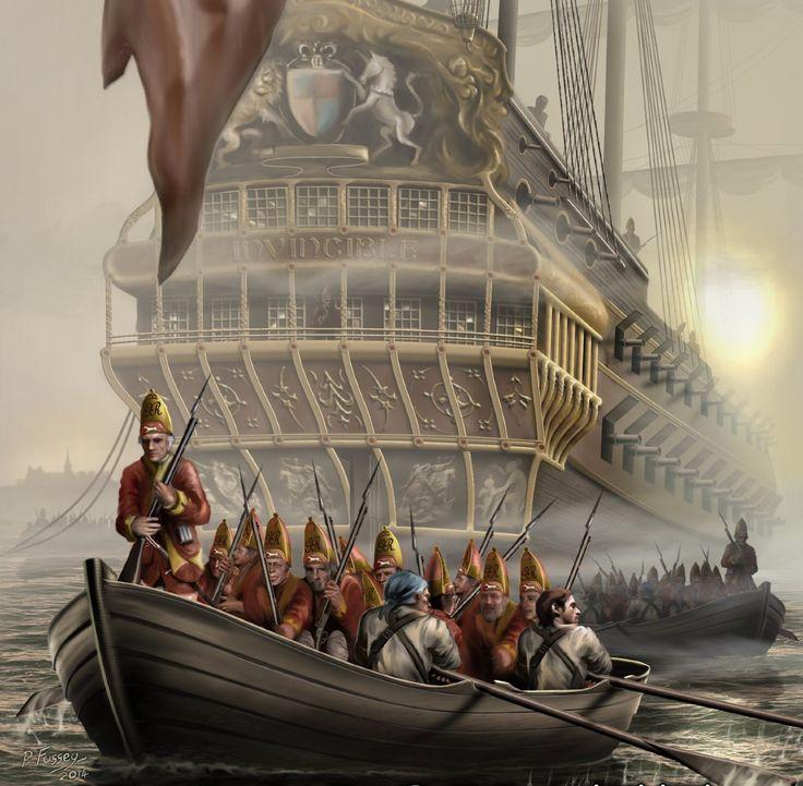 British Grenadiers disembarking at the Battle of Louisbourg