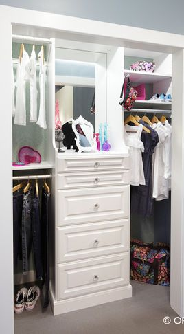 Adding a mirror to the nook of any closet adds a bit of light and gives you one more chance to check the results.