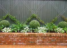 garden brick planter with box hedge - Google Search