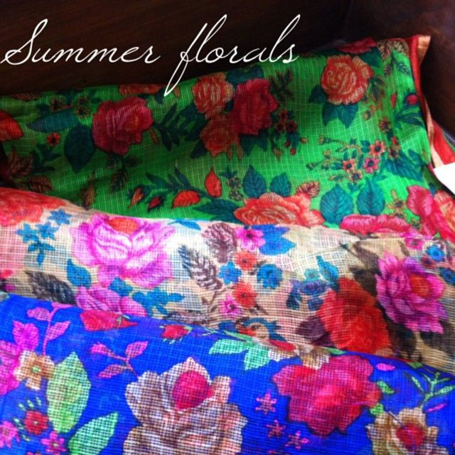 Summer floral fabrics - Printed silk Kota.  Coming soon on www.houseofblouse.com