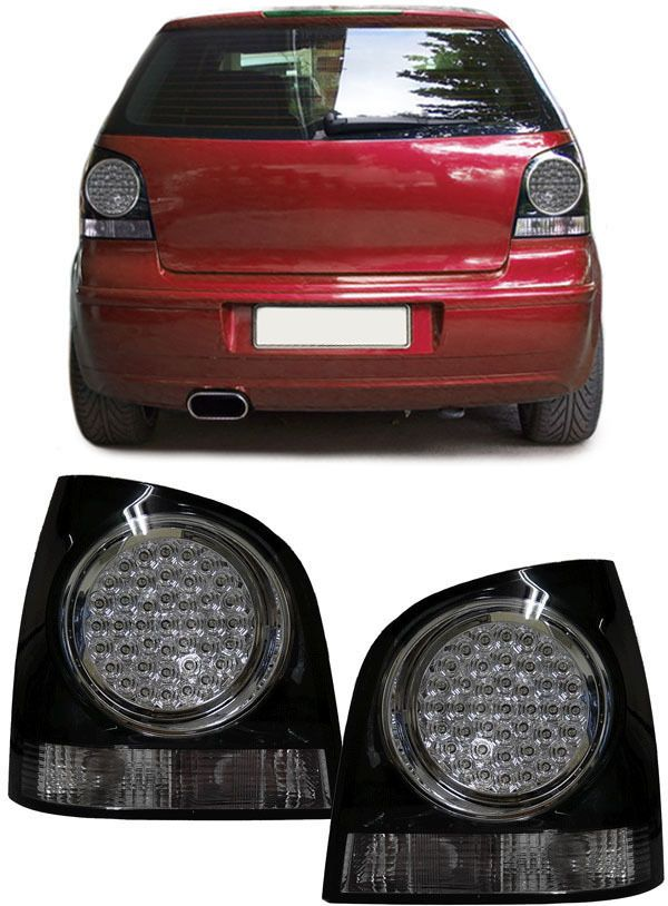 VW Polo 4 9N 9N3 2001-2009 LED Rear Tail Light Wing Lamp Black Replacement