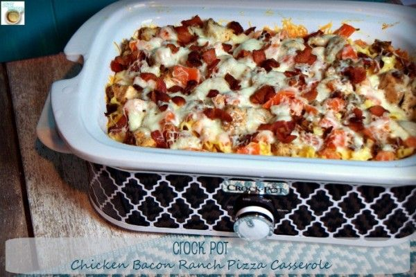 Hunk of Meat Monday - Crock Pot Chicken Bacon Ranch Pizza Casserole - Beyer Beware
