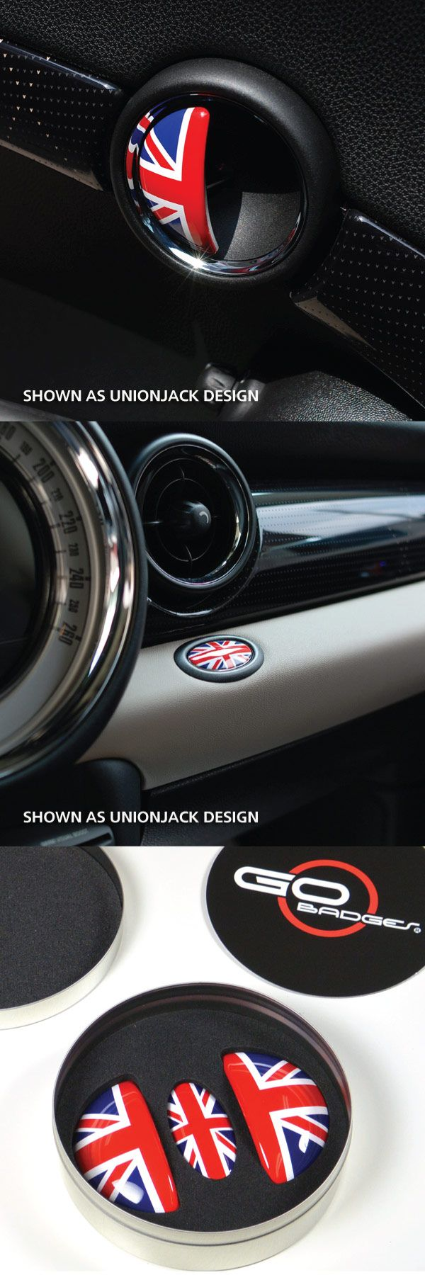 MINI COOPER R55,56,57,58,59 DOOR PULL AND GLOVE BOX CAP - UNIONJACK  Sometimes the smallest details can make all the difference between ordinary and cool! Let our door pull caps be a constant reminder for you and your guests why you love your MINI. They fit like a glove for all Gen 2 mini cooper models and install in minutes with 3M double stick tape. Available in Union Jack, Black Jack or Checker designs.