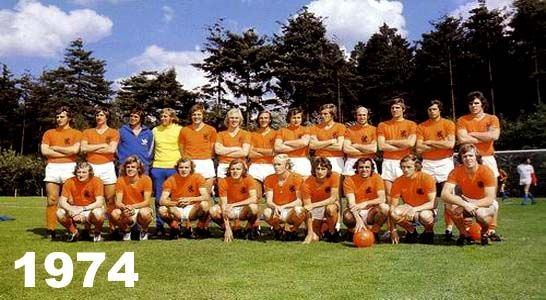 Orange team 1974, runner up in Munich's final against West Germany. I was in England that time and was not that much interested in soccer that time. Probably the best Dutch soccer team ever during that 1974 World Championship.  Awarded by many critics for their revolutionary changes in tactics by that time, but sadly never won a prize. It is like Gary Lineker said before, soccer is a game of 90 minutes and in the end Germany wins...