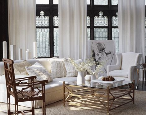 sweet baby jebus, those windows are fabulousCoffe Tables, Coffee Tables, White Living, Interiors Design, Living Room, Black White, Black Windows, Wingback Chairs, White Room