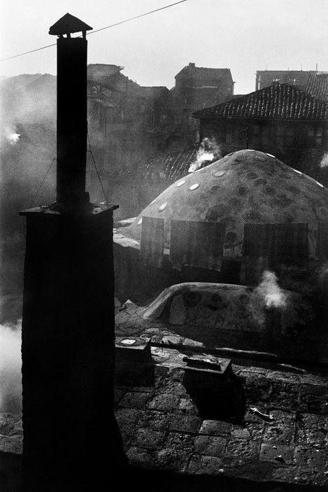 Ara Güler | Chimney and domes of a Turkish hamam in Beyoglu (1957)