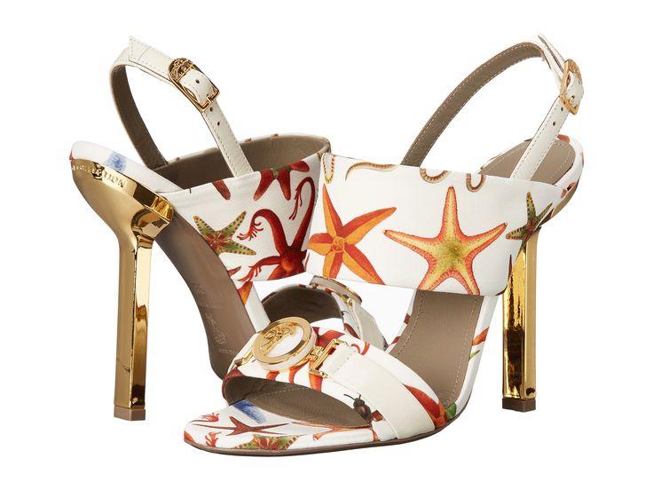 Versace Collection Oro Bizantino Printed Open Toe Heel Multi Bianco - Zappos Couture