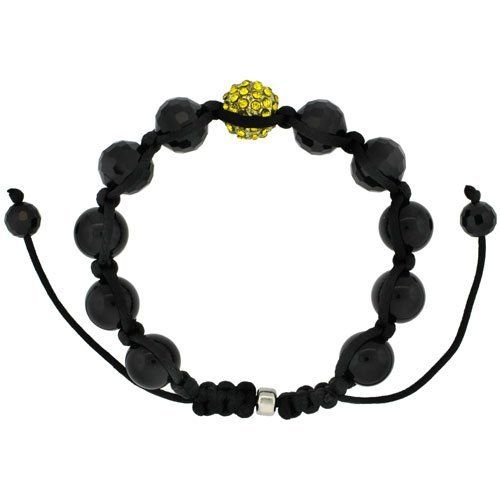 Yellow Color Crystal Disco Ball Adjustable Unisex Macrame Bead Bracelet w/ Hematite Beads, 1/2 in. (12.5mm) wide Sabrina Silver. $29.00