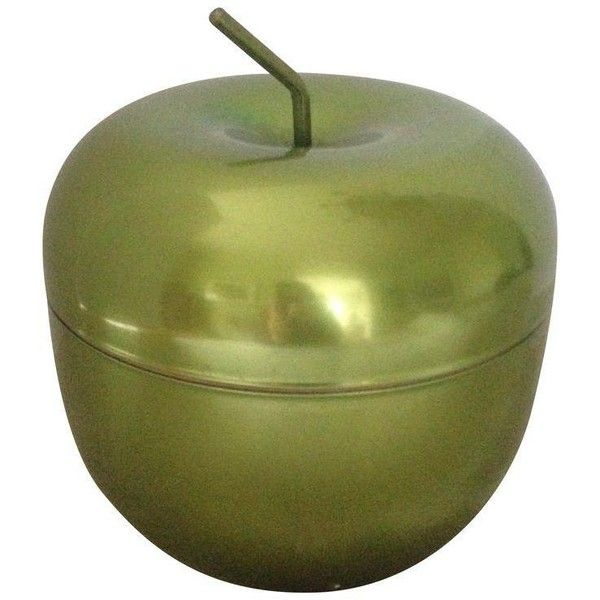 Vintage Green Apple Metal Ice Bucket (£72) ❤ liked on Polyvore featuring home, kitchen & dining, bar tools, ice buckets, vintage bar tools, metal bucket, metal bar cart, metal beer buckets and vintage ice bucket