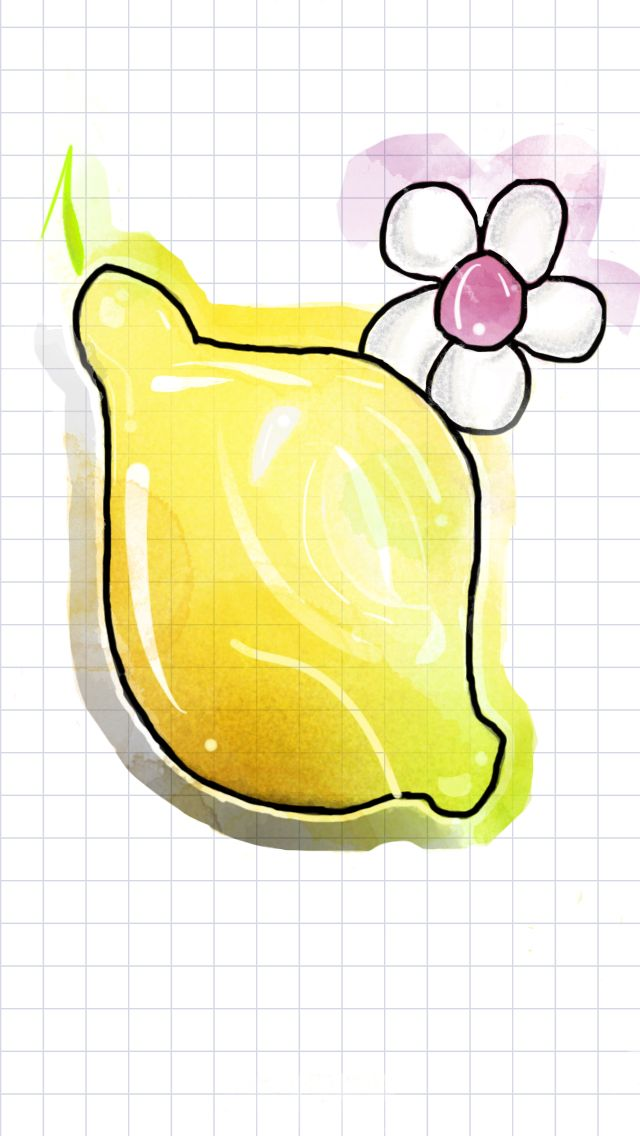 Watercolor ideas, lemon, green, yellow, cute, lil flower, purple flower watercolor