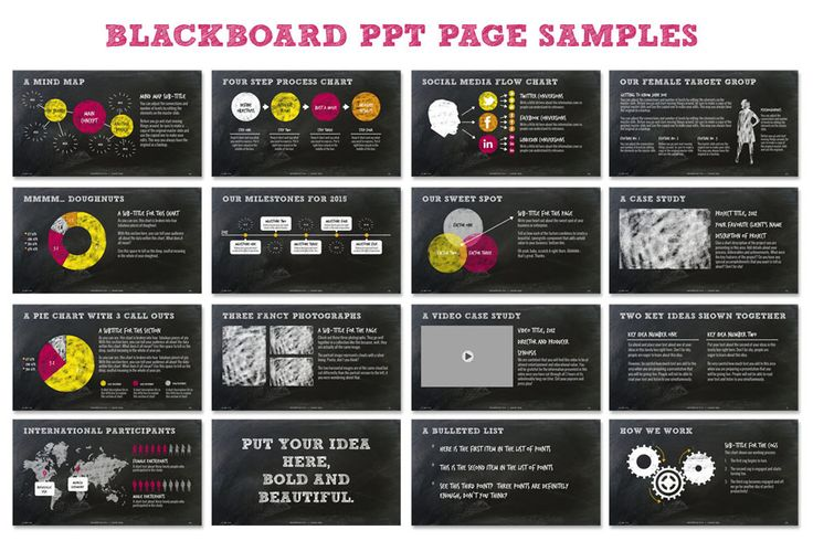This fully customizable,Chalkboard Powerpoint Template comes with over114 hand crafted master slides and tons of custom icons. It's great for eBooks, digital photo albums and creative business presentations.