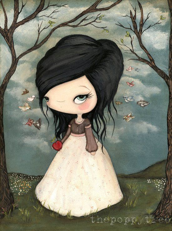 Kelly Ann (The Poppy Tree on Etsy): Snow White Print Forest Fairy Tale Bird Girl Wall Art
