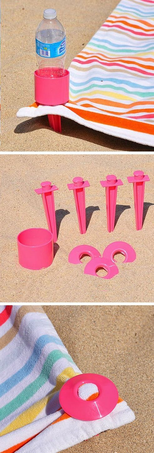 Beach Towel Stake Set with Cup Holder // #neat #genius #love