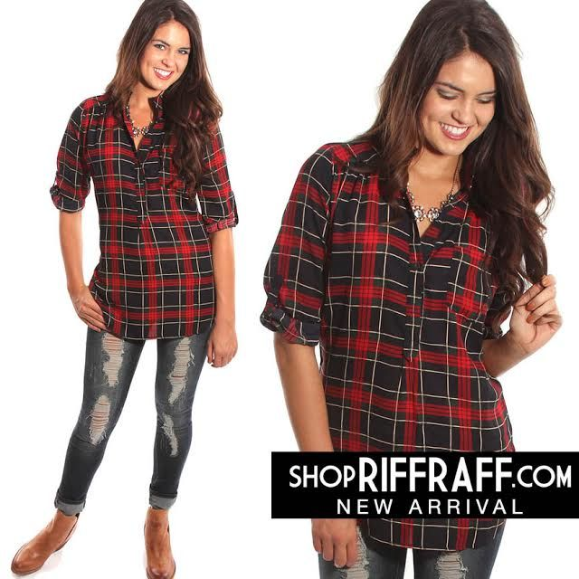 ROLL TAB PLAID SLEEVE TOP - RED + GREEN