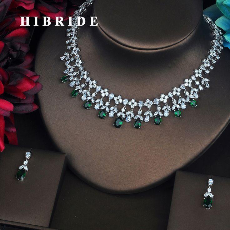 HIBRIDE Luxus Grün Wassertropfen Zirkonia Schmuck Sets Für Frauen Braut Halske...