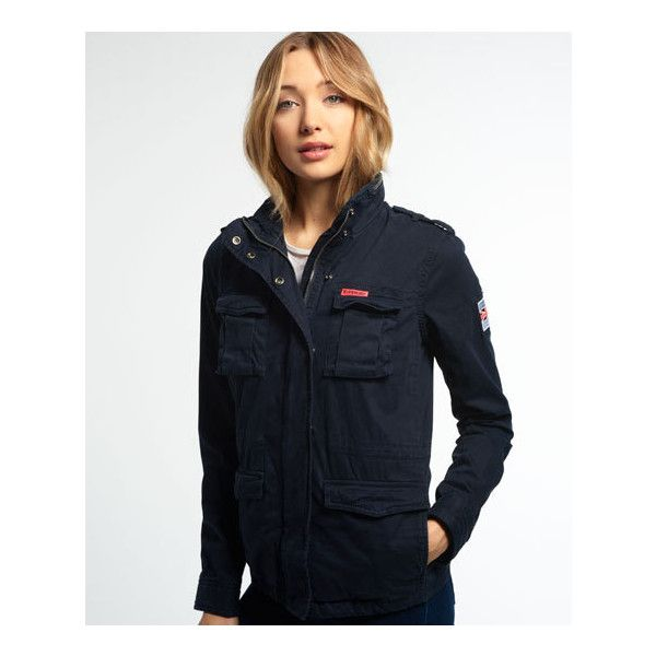 Superdry Rookie Military Jacket ($85) ❤ liked on Polyvore featuring outerwear, jackets, navy, military army jacket, navy blue field jacket, military field jacket, superdry jacket and military jacket