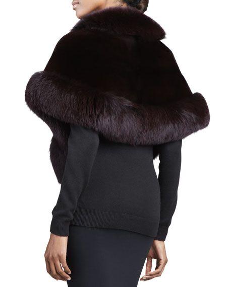 Fox-Trimmed Mink Fur Capelet, Black