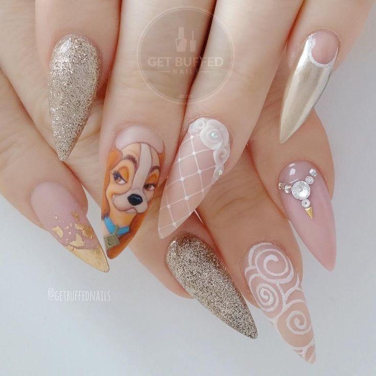 Nail art La bella y el vagabundo por Sarah Elmaz