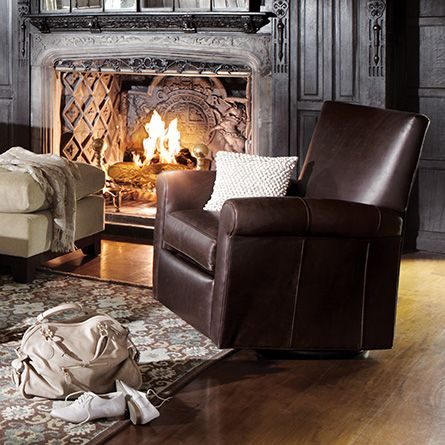 Duvall 35 Leather Swivel Recliner In Lear Chocolate ReclinerReclinersDining Room