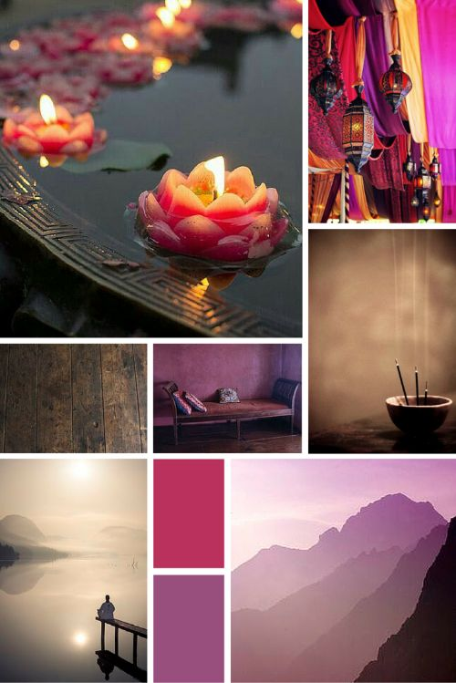 Midweek Moodboard: Mountain Meditation (deep pinks, purples, golds and neutrals - the perfect peaceful and calming colour palette for your design inspiration)