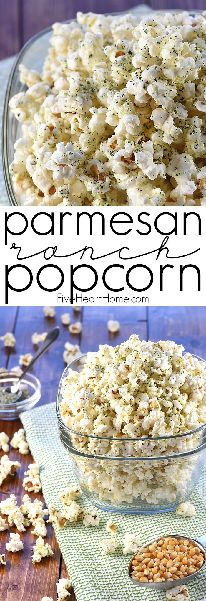 Parmesan Ranch Popcorn ~ freshly popped popcorn is drizzled in real butter and sprinkled with a savory mixture of Parmesan, dried herbs, and spices for a perfect movie night treat! | FiveHeartHome.com