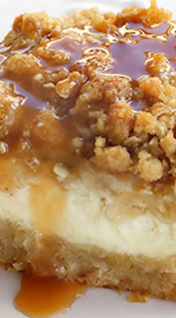 Caramel Apple Cheesecake Bars Recipe ~ These creamy cheesecake bars are topped with diced apples and a streusel topping.