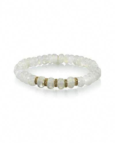 9047f0c737f Sheryl Lowe Rainbow Moonstone Bead Bracelet w/ Diamond Rondelles  #diamondbanglebracelet