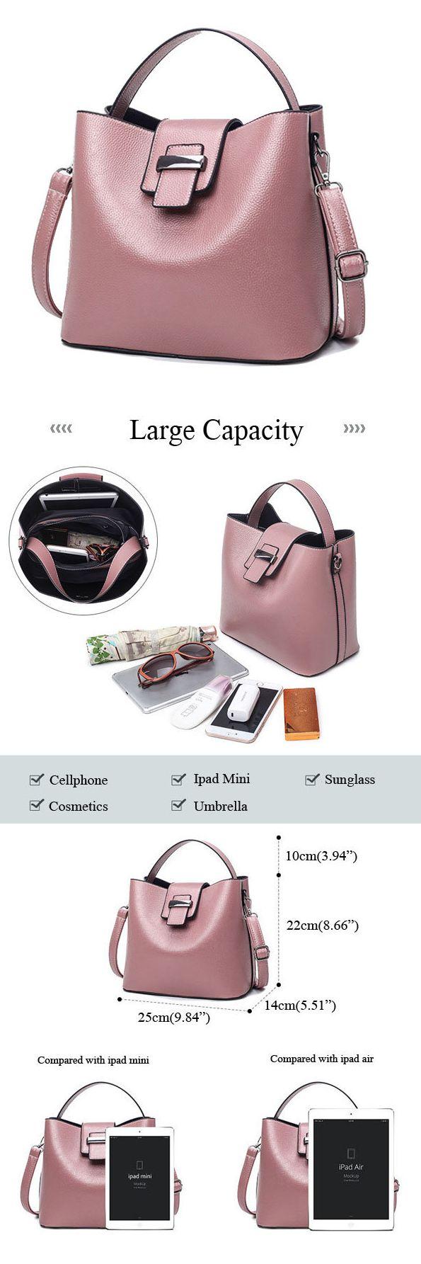 US$24.55 Retro Women Pu Leather Bucket Bag Casual Crossbody Bag Handbag For Women