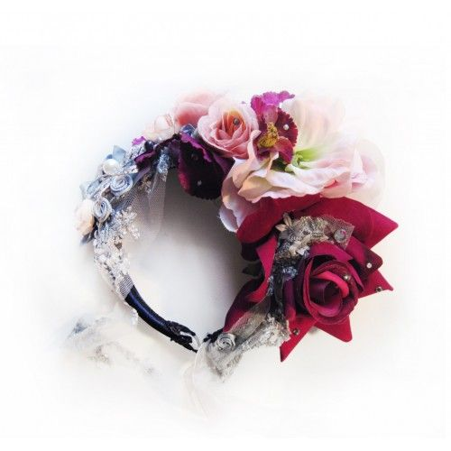 Rose Bridal Crown #accessories #fashion #headpiece #fascinator #hat #headdress #hairstyle #wedding #bridal #crystal #glamour #chic #millinery #romantic #fantasy #roses #flowers #swarovski #weddingheadpiece #collection #fairy #weddings #look #crown