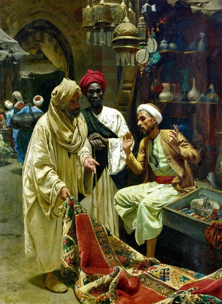 The Carpet Seller, Rudolph Swoboda (II), Austrian, (1859-1914). oh, the drama!  a hard way of earning a living, no?