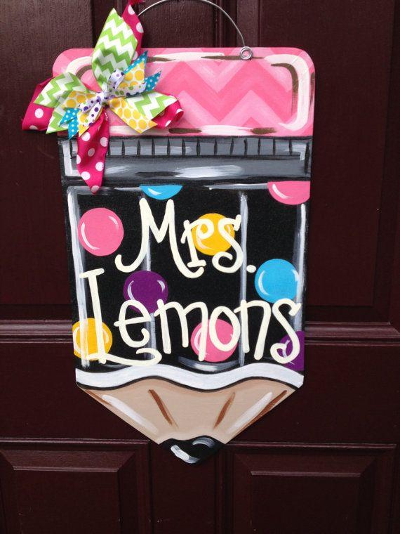 Pencil Door Hanger/Teacher Door by TheGildedPolkaDot on Etsy