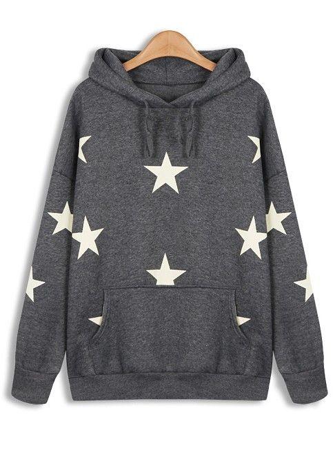 Sweat-shirt à imprimé étoiles avec capuche -Gris EUR€23.74