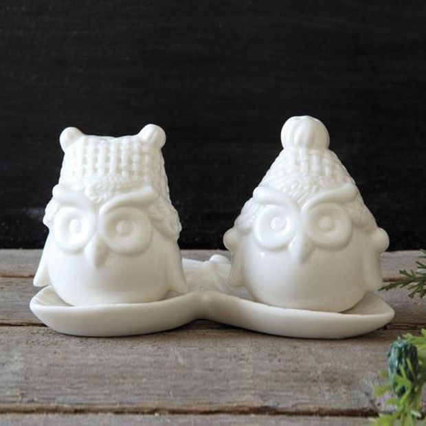 3-Pc. Bundled Up Owl Salt & Pepper Shakers in White Passing the salt and pepper is so much more fun with these owls. Sure to be a conversation starter, this ceramic pair comes with a tray on which to perch. Outfit your table setting with these shakers and don't be surprised if your guests keep admiring your latest table additions!