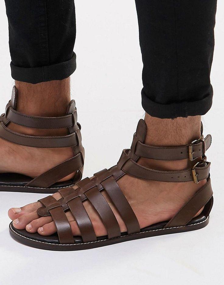 ASOS Men's Brown Gladiator Sandals in Leather