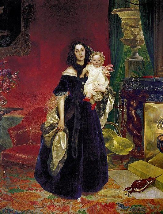 Портрет М. А. Бек с дочерью М. И. Бек.. Карл Павлович Брюллов