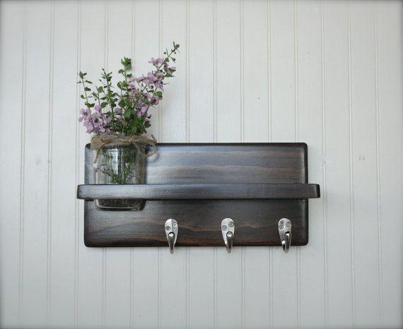 """12"""" Wall Shelf with Hooks and Mason Jar Vase or Planter  Wood Home Decor on Etsy, $26.00"""